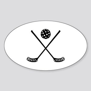 Crossed floorball sticks Sticker (Oval)